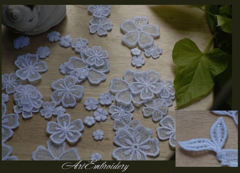 FSL (Free Standing Lace) Flowers - Machine Embroidery Designs Set for hoop  4x4