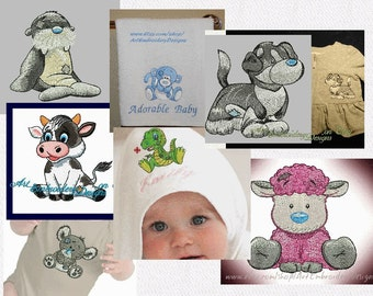 """SALE! Pack of Seven (7) Old Toys Animals and other Patched Designs- Machine Embroidery Designs for Babies and Children of a series """"Old Toy"""""""