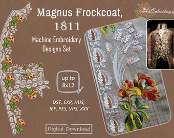 """Magnus Frockcoat, 1811 – Machine Historical Embroidery Designs Set for hoop sizes up to 8x12"""""""