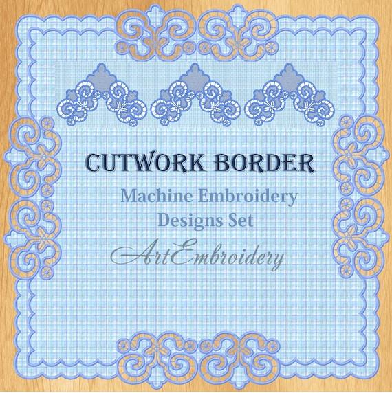 Cutwork Border And Corners Set Richelieu Machine Embroidery Etsy