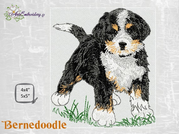 Bernedoodle Dog Old Toy Machine Embroidery Puppy Design For Hoop 4x4 And 5x5