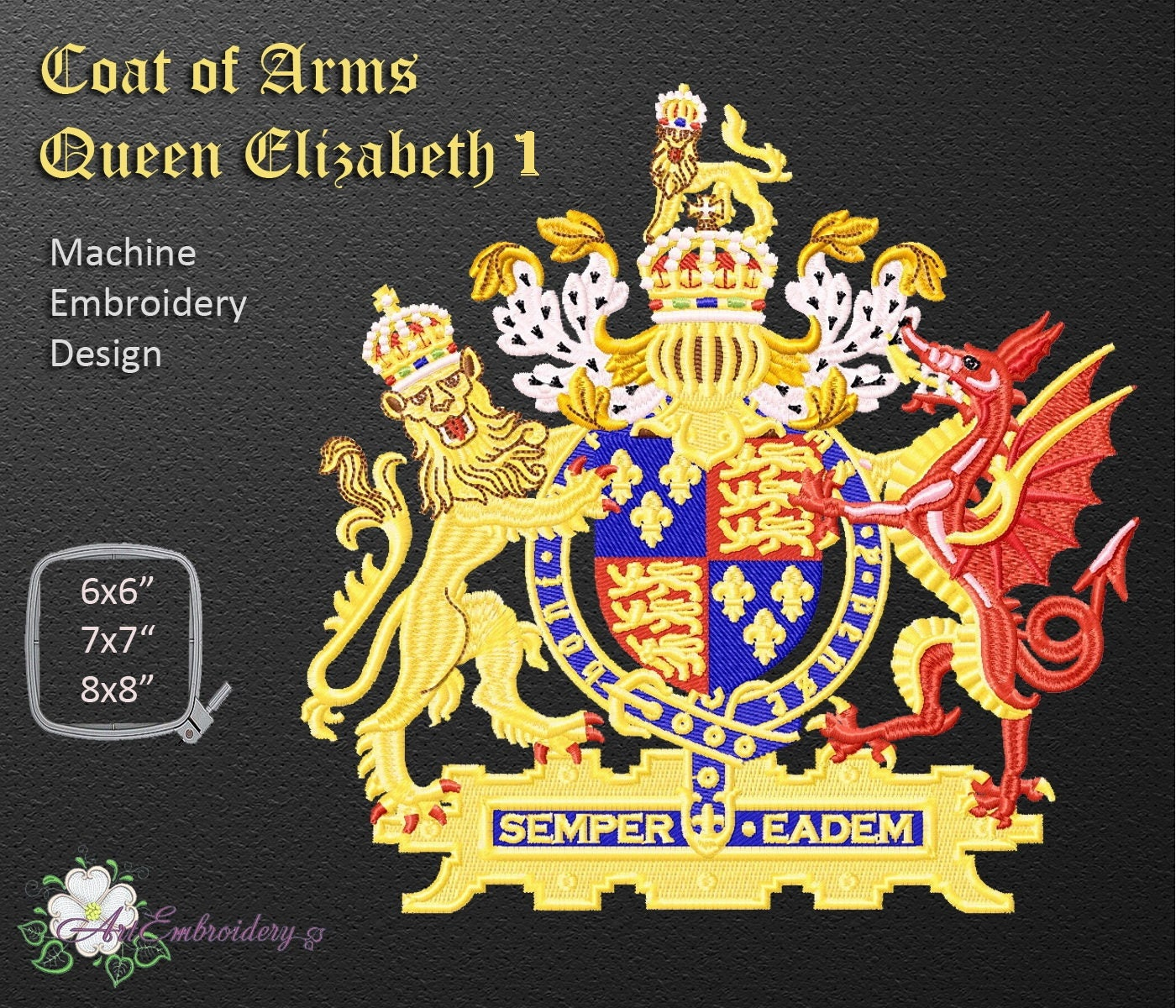 Coat Of Arms Queen Elizabeth I Official Coat Of Arms Of The Etsy
