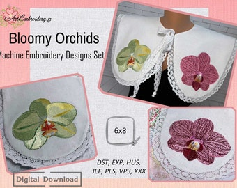 """Bloomy Orchids - Machine Embroidery Set of two botanical, naturalistic flower designs for hoop 6x8"""""""
