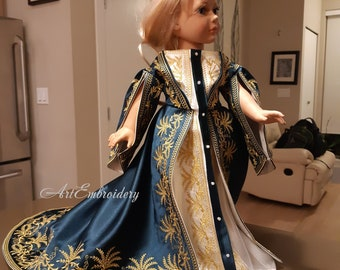 Russian Court Dress for Doll  - Machine Embroidery Designs Set for mixed up hoops