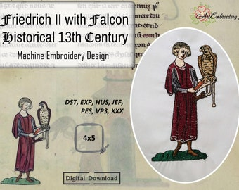 """Friedrich II with Falcon Historical 13th Century - Machine Embroidery Medieval Historical Design for hoop 4x5"""""""
