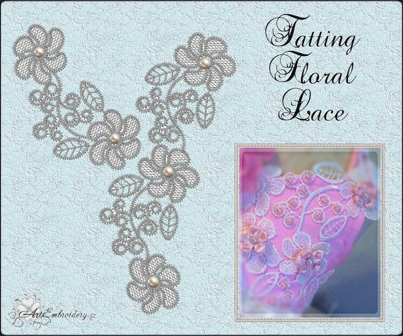 Tatting Floral Lace Fsl Free Standing Lace Embroidery Etsy