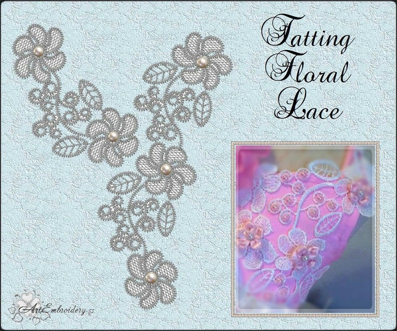 Tatting Floral Lace - FSL, Free Standing Lace Embroidery Designs Set of  flower for hoop 4x4