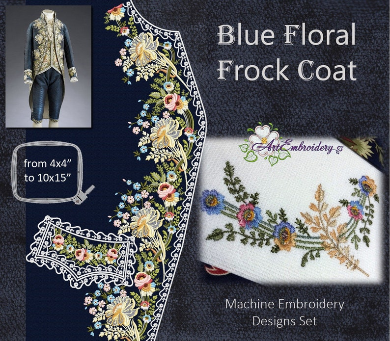 Blue Floral Frock Coat Machine Embroidery Designs Set From English Man S Suit 1775 1780