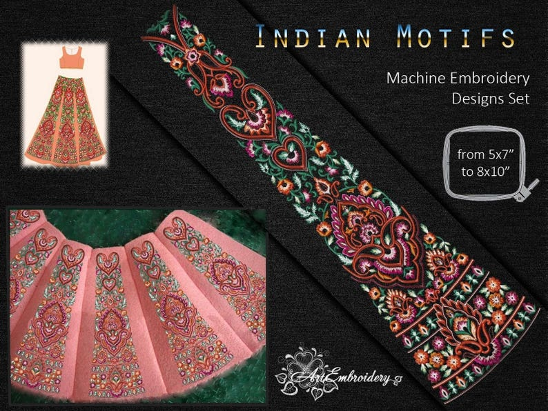 Indian Motifs Machine Embroidery Designs Set For Indian Women S Clothing And Indian Costumes Mixed Sizes Up To 8x10