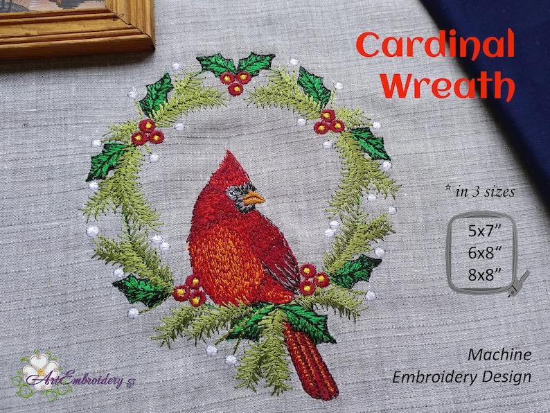 Cardinal Wreath   Machine Embroidery Design in three sizes