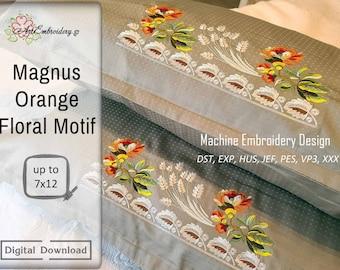 Magnus Orange Floral Motif - Machine Embroidery Design for hoop 7x12