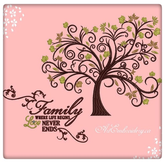 Family Tree With Quote Family Where Life Begins Love Etsy