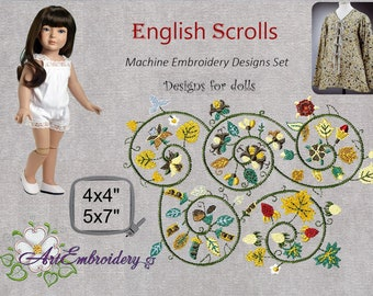"""English Scrolls  - Doll's Machine Embroidery Designs Set  for hoops 4x4"""" and 5x7"""""""
