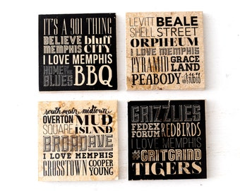 Memphis Tennessee places Typography marble tile coaster set of 4 in black and white MADE TO ORDER