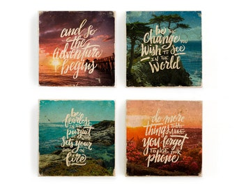 Hand lettered inspirational quotes over beach and sunset photos, image transfer on marble tile coaster set