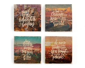 Hand lettered inspirational quotes over beach and sunset bokeh photo collages, image transfer on marble tile coaster set