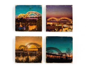Colorful Memphis bridge photography in downtown, various sunsets, bokeh lights, image transfer marble tile coaster set of 4