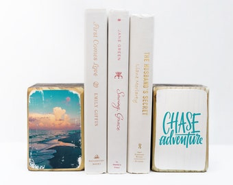 Florida beach during sunset with hand lettered inspirational saying Chase Adventure, photography transfer on wood art bookends