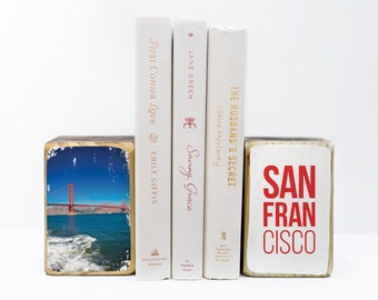 Downtown San Francisco California red Golden Gate Bridge, photography transfer on wood art bookends