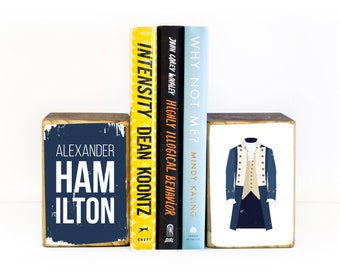 Alexander Hamilton musical inspired costume illustration image transfer on wood art bookends