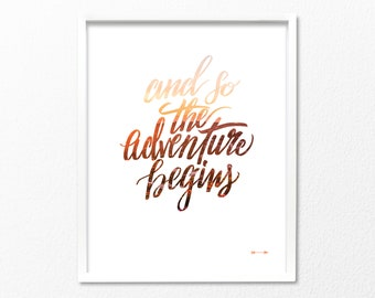And so the adventure begins, hand lettered quote with Los Angeles California sunset overlay, linen art print