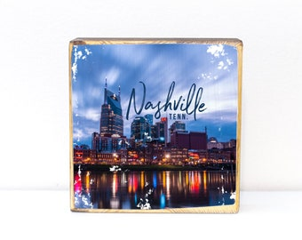 Nashville, Tennessee, downtown city skyline over the Cumberland River with typography, night photography, 5x5, 7x7 image transfer wood art