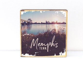 Memphis, Tennessee, panoramic skyline photography with bridge, pyramid and downtown Memphis cityscape, photo transfer on wood art, 5x5, 7x7