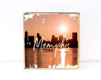 Memphis, Tennessee, panoramic skyline photography sunset building silhouette, photo transfer on wood art, 5x5, 7x7