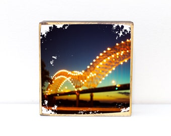 Memphis, Tennessee, downtown M bridge at night bokeh light photography, photo image transfer on wood art, 5x5, 7x7