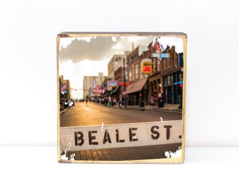 Beale Street, downtown barricade in Memphis, Tennessee, photography transfer on wood art, 5x5, 7x7