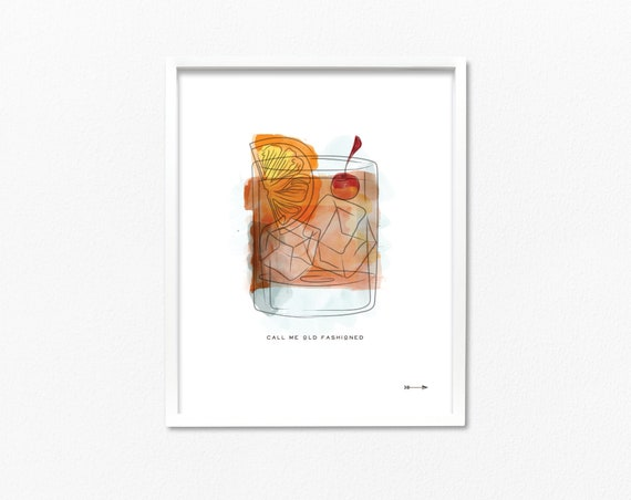 Call Me Old Fashioned Rocks Glass Watercolor Illustration 8x10 Etsy