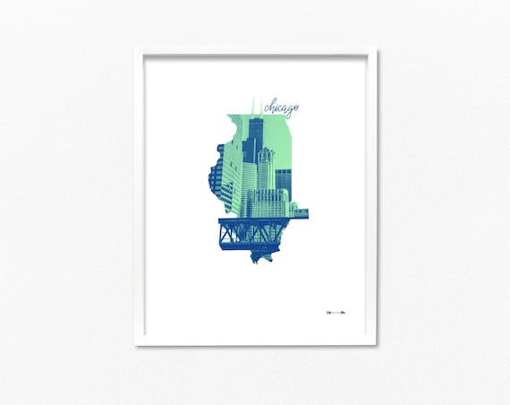 Chicago State Map Illustration Series Photo Of Downtown Etsy