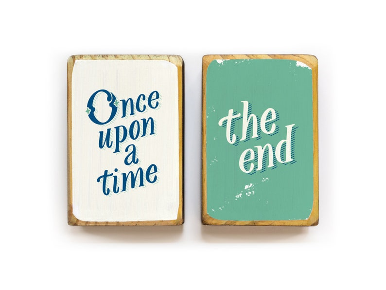 Once upon a time the end hand lettered storybook wood image 0