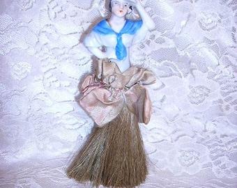 Antique Half Doll Brush Victorian Porcelain Half Doll Vanity Brush