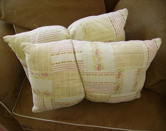 Vintage Old Feedsack Cloth Pillows Country Primitive Farmhouse Chic