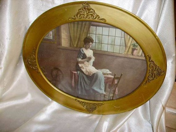On Sale Antique Victorian Lady Color Litho In French Ormolu Etsy