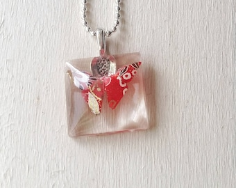 Paper butterfly pendant, Origami necklace, Resin Jewelry, Moms birthday gift, Nature lover jewelry, Handmade necklace