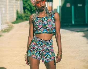 Aztec Crop Top & Shorts| Aztec Top| Tribal Crop Top and Shorts| Cotton Crop Top | Cotton Shorts | Printed Crop Top | High waist Shorts