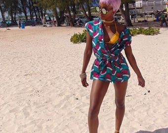 Ankara Dress | Ankara Turquoise Wrap Dress| Wrap Dress| Cover up| Beach Dress