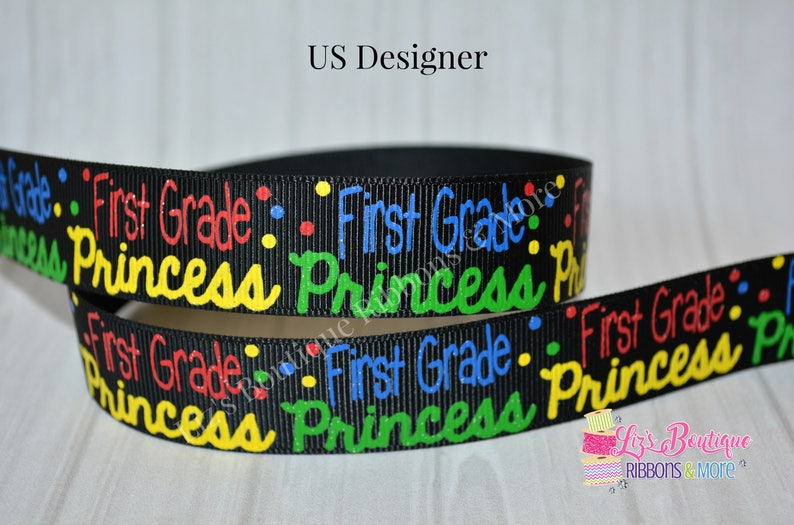 ade4e81903368 First Grade ribbon, 1st grade princess, Back to school ribbon, 3yds, 7/8 /  princess / US Designer ribbon / glitter ribbon / school ribbon