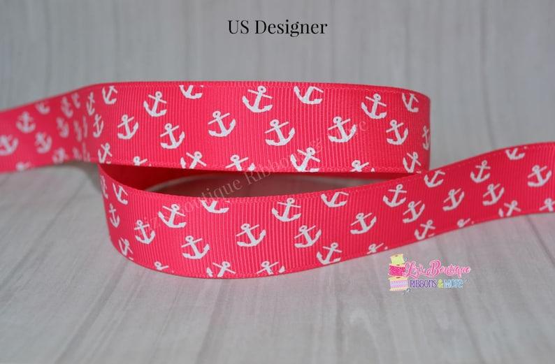 102781f2c275f Anchor ribbon, USD, 7/8, Shocking pink ribbon, summer ribbon, anchors,  nautical, white anchor, US Designer, 7/8, hair bow supply, 3yds