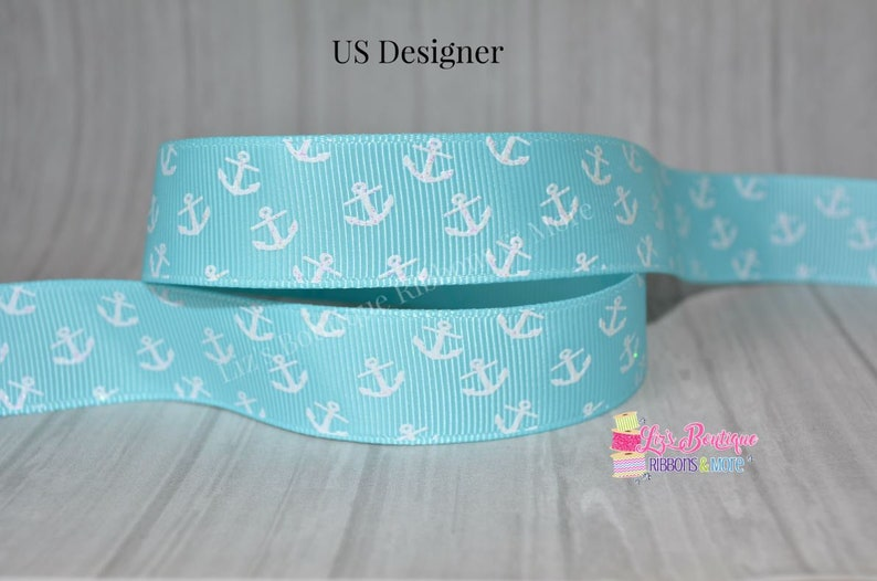 d303462d5ba58 Anchor ribbon, USD, 7/8, 3yds, Ocean blue ribbon, summer ribbon, anchors,  nautical, white anchors, US Designer, 7/8, hairbow supply, glitter