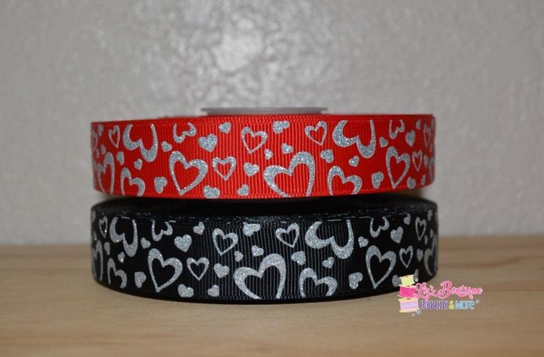 85017a3859e0e Valentine's Ribbon / 3 yards / US Designer ribbon / heart ribbon, silver  glitter hearts, red ribbon, black ribbon, USD, 7/8, heart ribbon