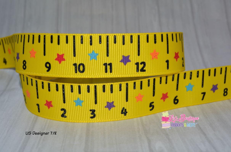 9a6a3a8906165 Ruler ribbon, 3yds ,school ribbon, Back to school ribbon, 7/8, US Designer  ribbon, glitter ribbon, yellow ruler ribbon, number ribbon