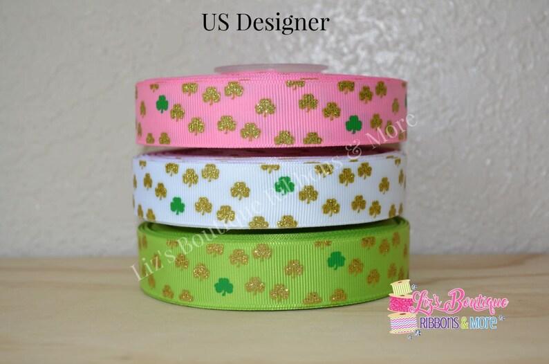 ba83c4ccfa3d3 USD St. Patricks shamrock ribbon, Holiday Ribbon, 3yd, 22mm, Saint Patrick,  Gold glitter shamrocks, us designer, hair bow supplies