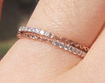 Modern Silver Diamond Band, Diamond and Rope Twist Band, Silver Stacker Ring, Asymmetrical Wedding Band, Rope Band, Rope Ring, Stacking Band