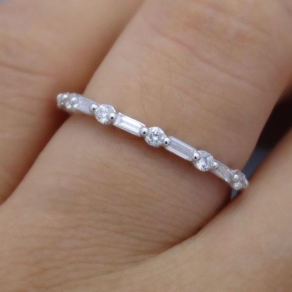 Full Cut Round and Baguette Diamond Band Diamond Wedding   Etsy