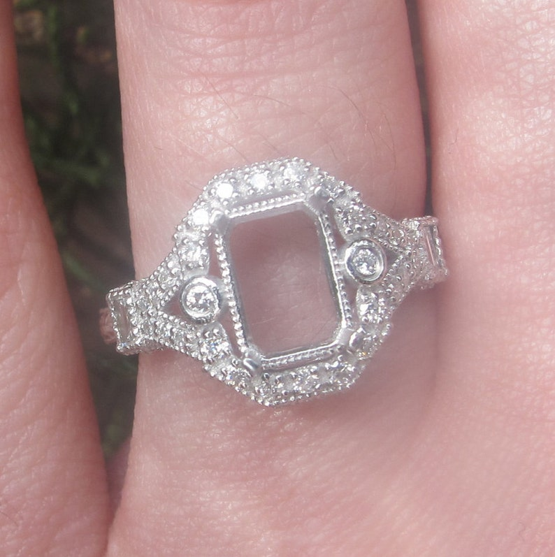 Art Deco Engagement Ring Setting, Vintage Style Engagement Ring Setting,  Emerald Cut Ring Setting, Art Deco Diamond Ring, Gold Ring Setting