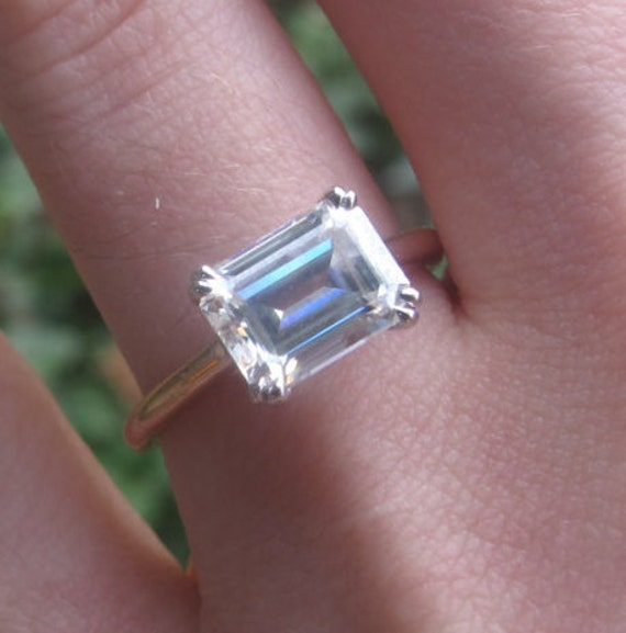 East West Moissanite Engagement Ring East West Emerald Cut Etsy