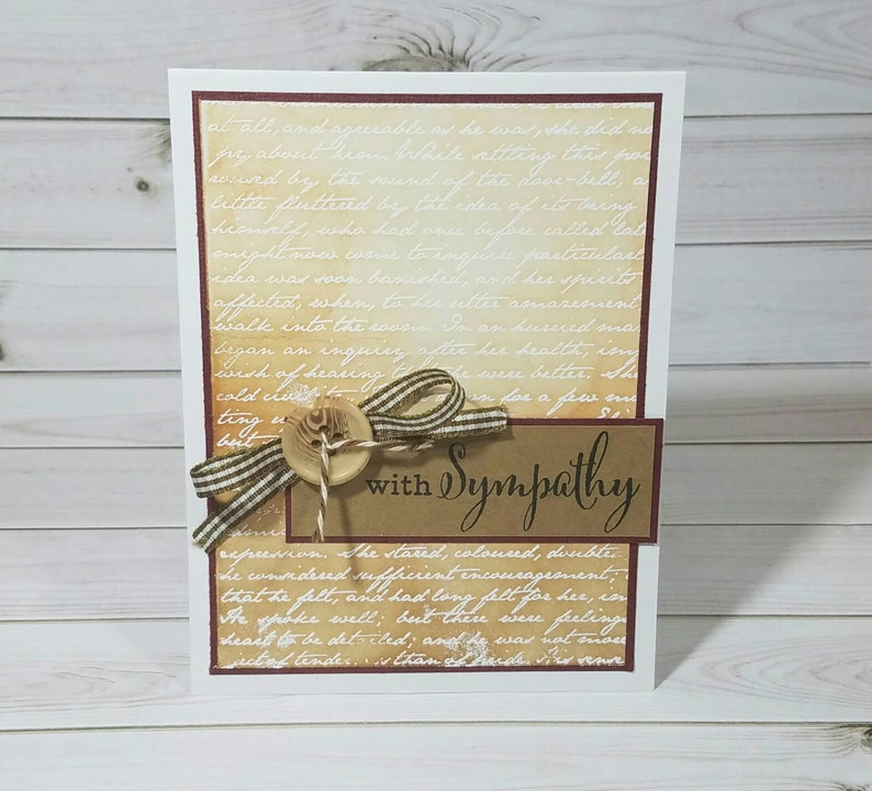 With Sympathy Sympathy Card Loss of a Loved One Handmade Greeting Card Elegant Card Thinking of You Grief and Loss Cards Pet Loss